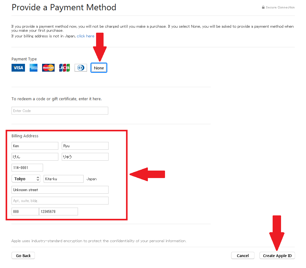 "For payment type select ""NONE"". For the bill address use an anonymous address. Copy and paste the text show below to match the info shown. Click ""Create Apple ID"" when complete."