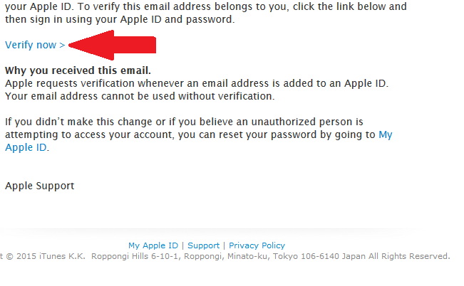 "In the verification email from Apple, click ""Verify now"""