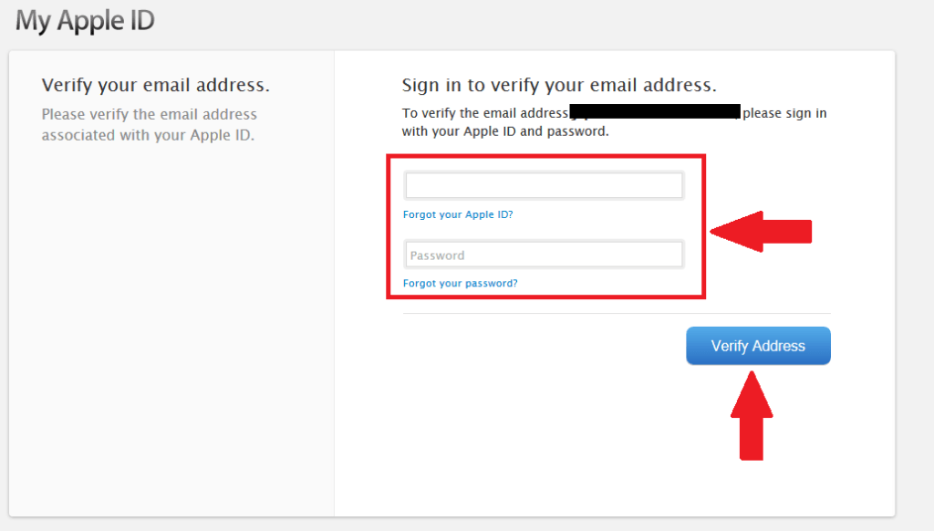 "Sign in with the email and password you used in the steps above. Click ""Verify Address"""