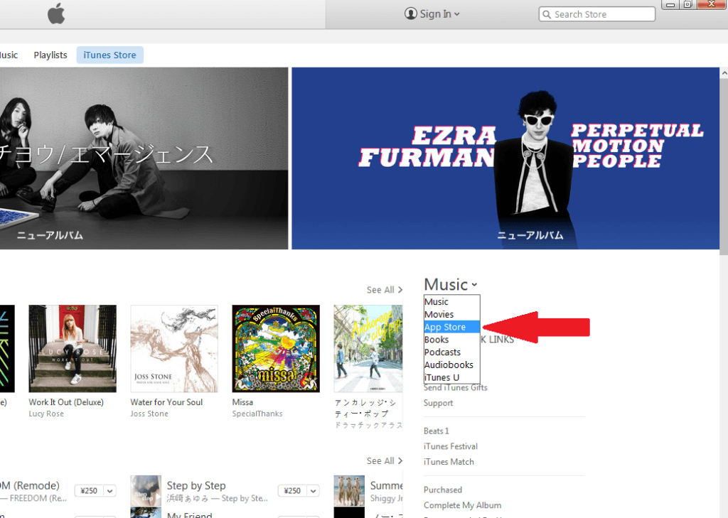 "In the iTunes Japan storefront on the right side of the screen, select the ""App Store"" from the drop down menu."